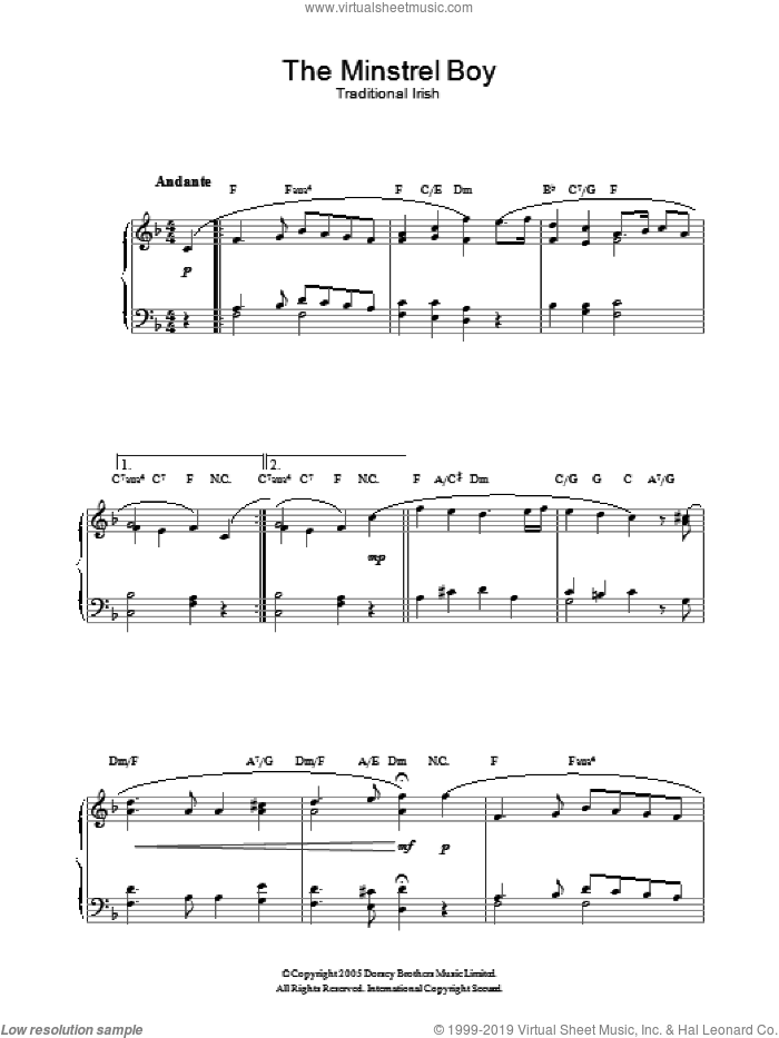 The Minstrel Boy sheet music for piano solo. Score Image Preview.