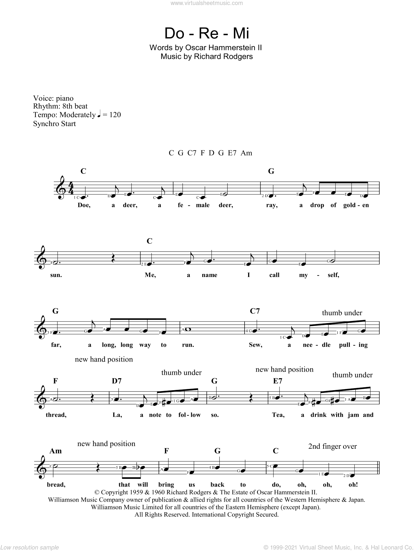 Do-Re-Mi sheet music for voice and other instruments (fake book) by Rodgers & Hammerstein, The Sound Of Music (Musical), Oscar II Hammerstein and Richard Rodgers, intermediate skill level