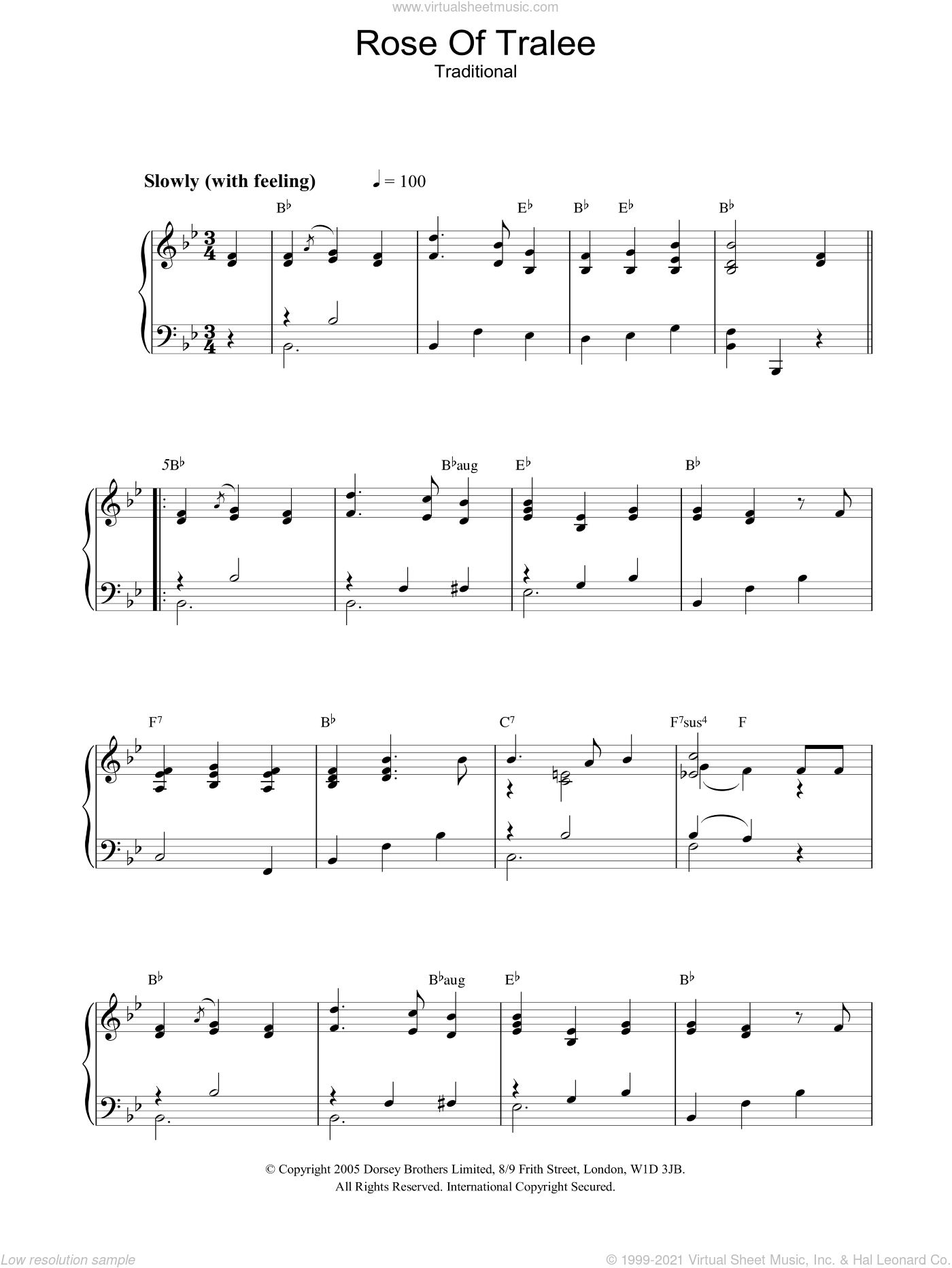 Rose Of Tralee sheet music for piano solo. Score Image Preview.