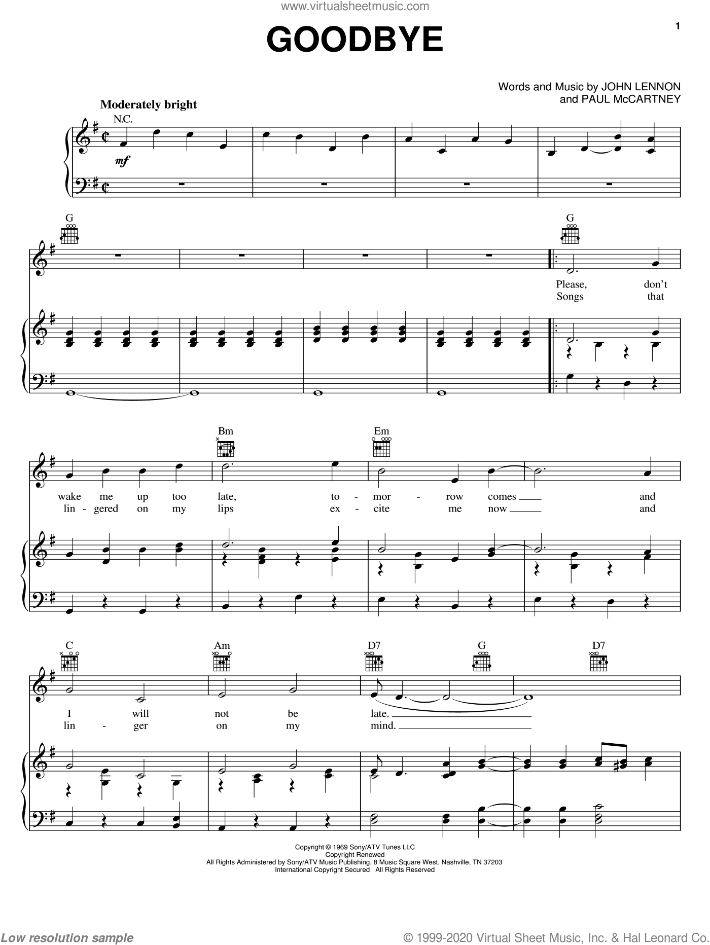 Goodbye sheet music for voice, piano or guitar by The Beatles and Paul McCartney, intermediate skill level