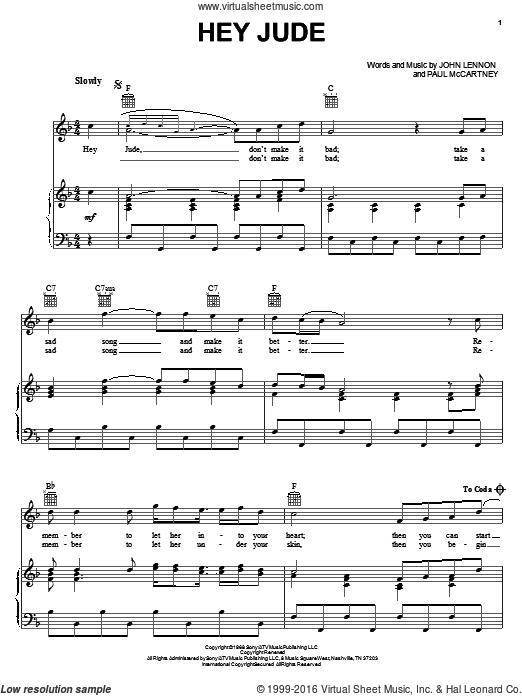 Hey Jude sheet music for voice, piano or guitar by Paul McCartney, The Beatles and John Lennon. Score Image Preview.