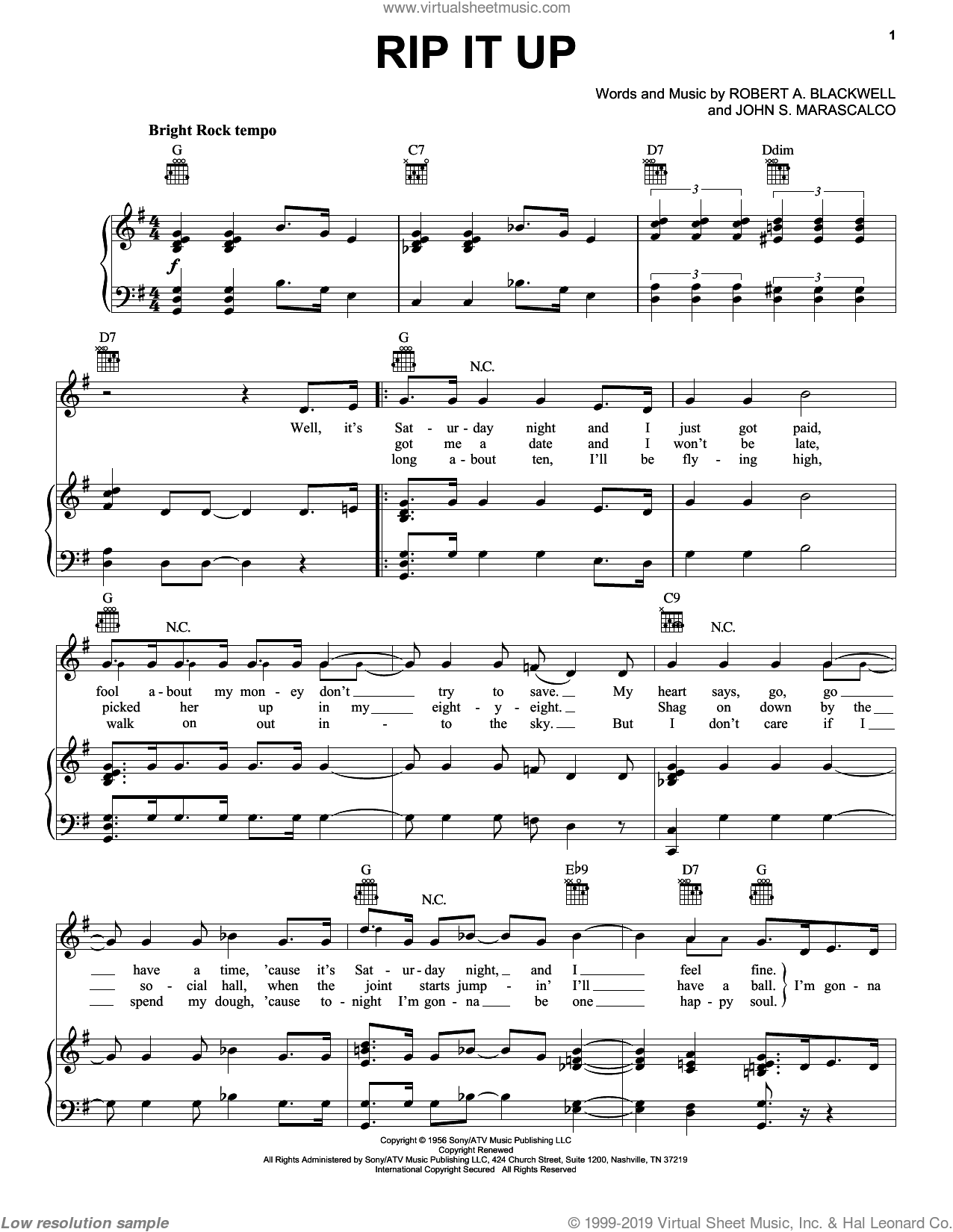 Rip It Up sheet music for voice, piano or guitar by Robert Blackwell
