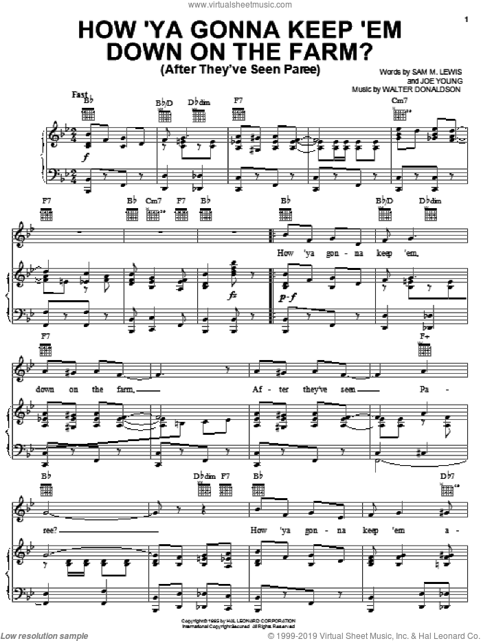 How 'Ya Gonna Keep 'em Down On The Farm? (After They've Seen Paree) sheet music for voice, piano or guitar by Walter Donaldson