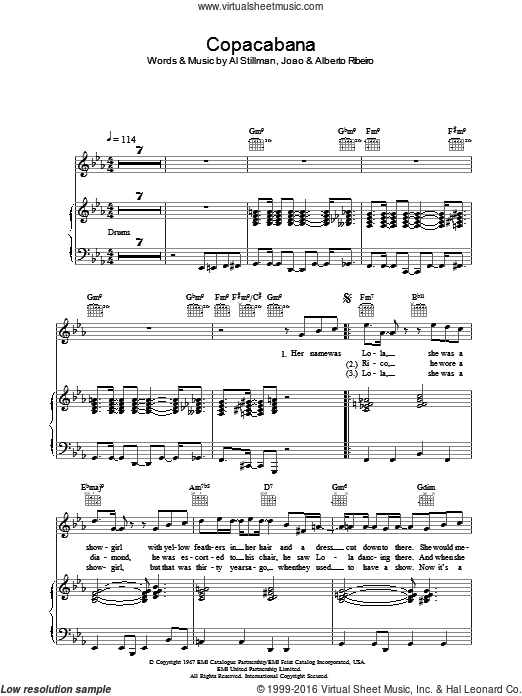 Copacabana (At The Copa) sheet music for voice, piano or guitar by Joao