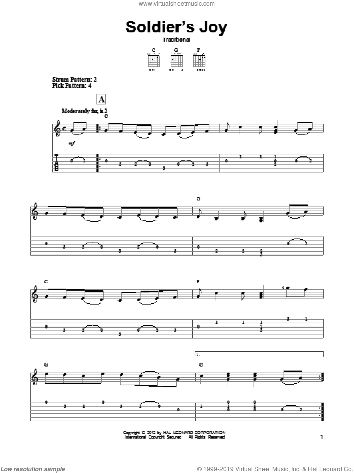 Soldier's Joy sheet music for guitar solo (easy tablature)