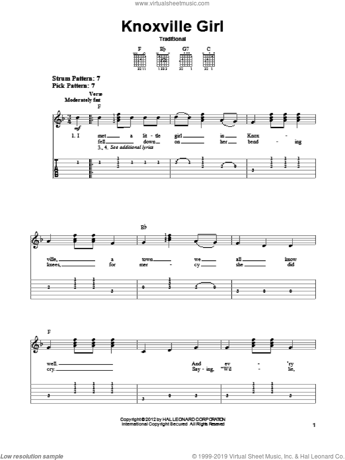 Knoxville Girl sheet music for guitar solo (easy tablature), easy guitar (easy tablature)