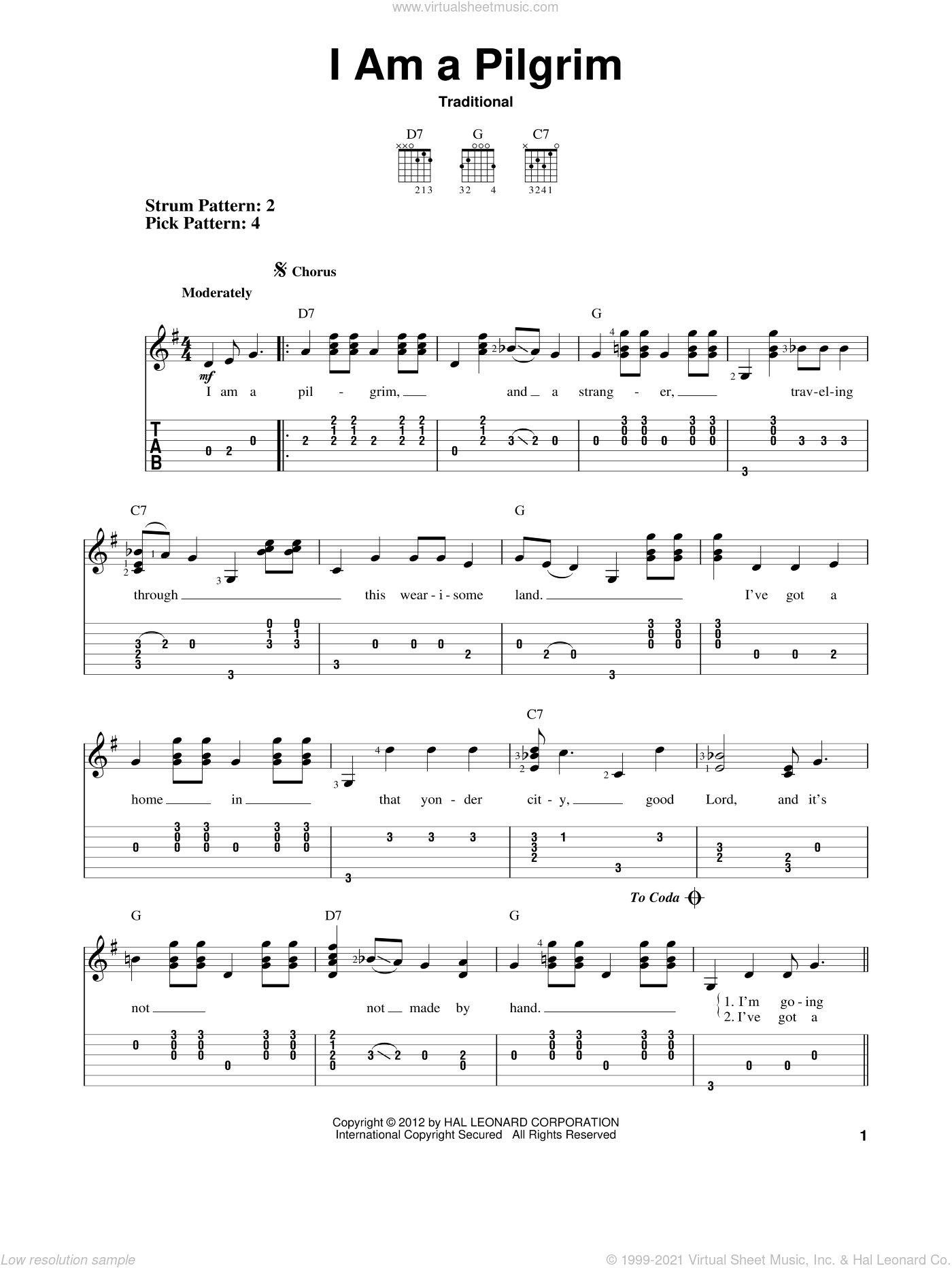I Am A Pilgrim sheet music for guitar solo (easy tablature), easy guitar (easy tablature)