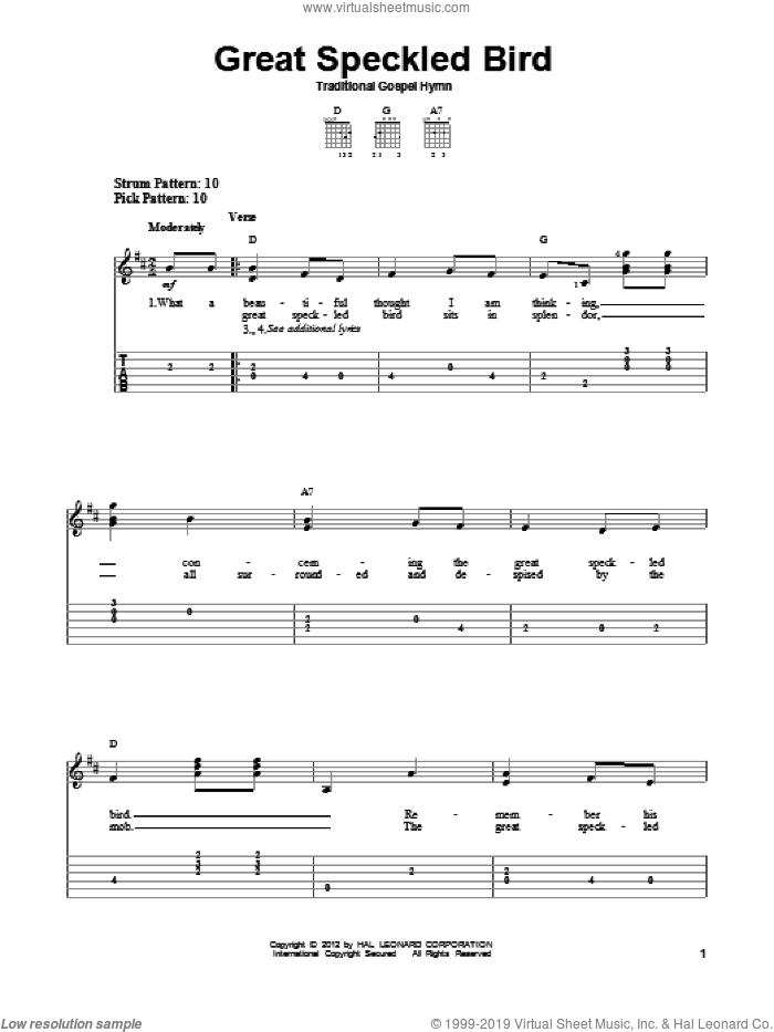 Great Speckled Bird sheet music for guitar solo (easy tablature) by Roy Acuff and Traditional Gospel Hymn, easy guitar (easy tablature)
