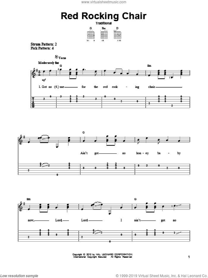 Red Rocking Chair sheet music for guitar solo (easy tablature), easy guitar (easy tablature)