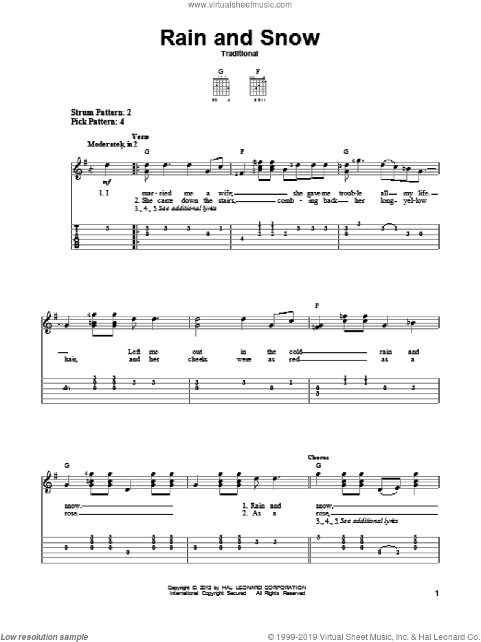 Rain And Snow sheet music for guitar solo (easy tablature), easy guitar (easy tablature)