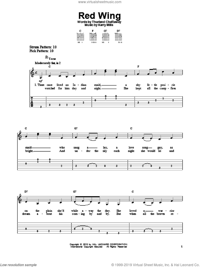 Red Wing sheet music for guitar solo (easy tablature) by Thurland Chattaway and Kerry Mills. Score Image Preview.