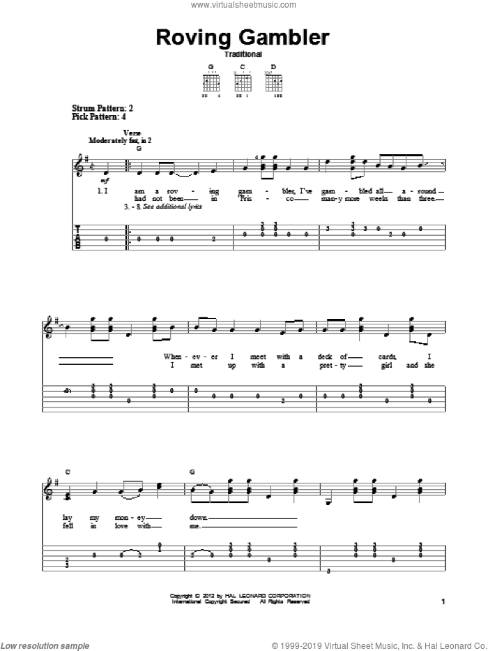 Roving Gambler sheet music for guitar solo (easy tablature). Score Image Preview.