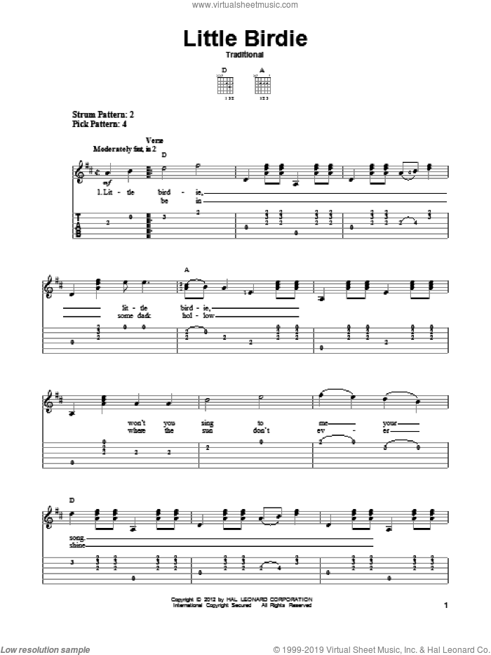 Little Birdie sheet music for guitar solo (easy tablature)