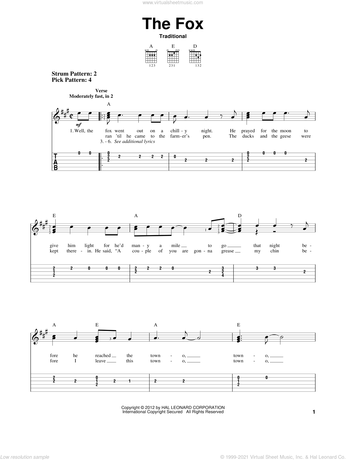The Fox sheet music for guitar solo (easy tablature), easy guitar (easy tablature)