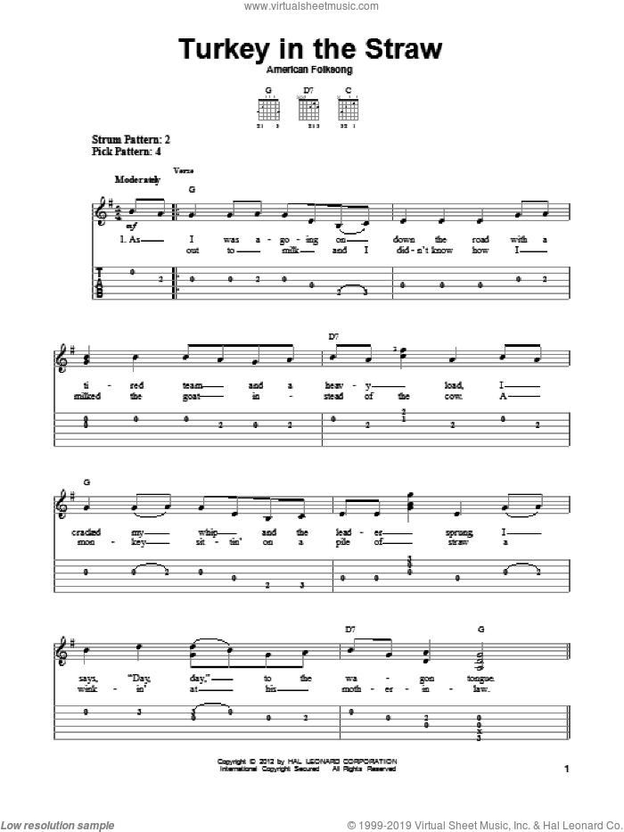 Turkey In The Straw sheet music for guitar solo (easy tablature) by American Folksong and Miscellaneous, easy guitar (easy tablature)