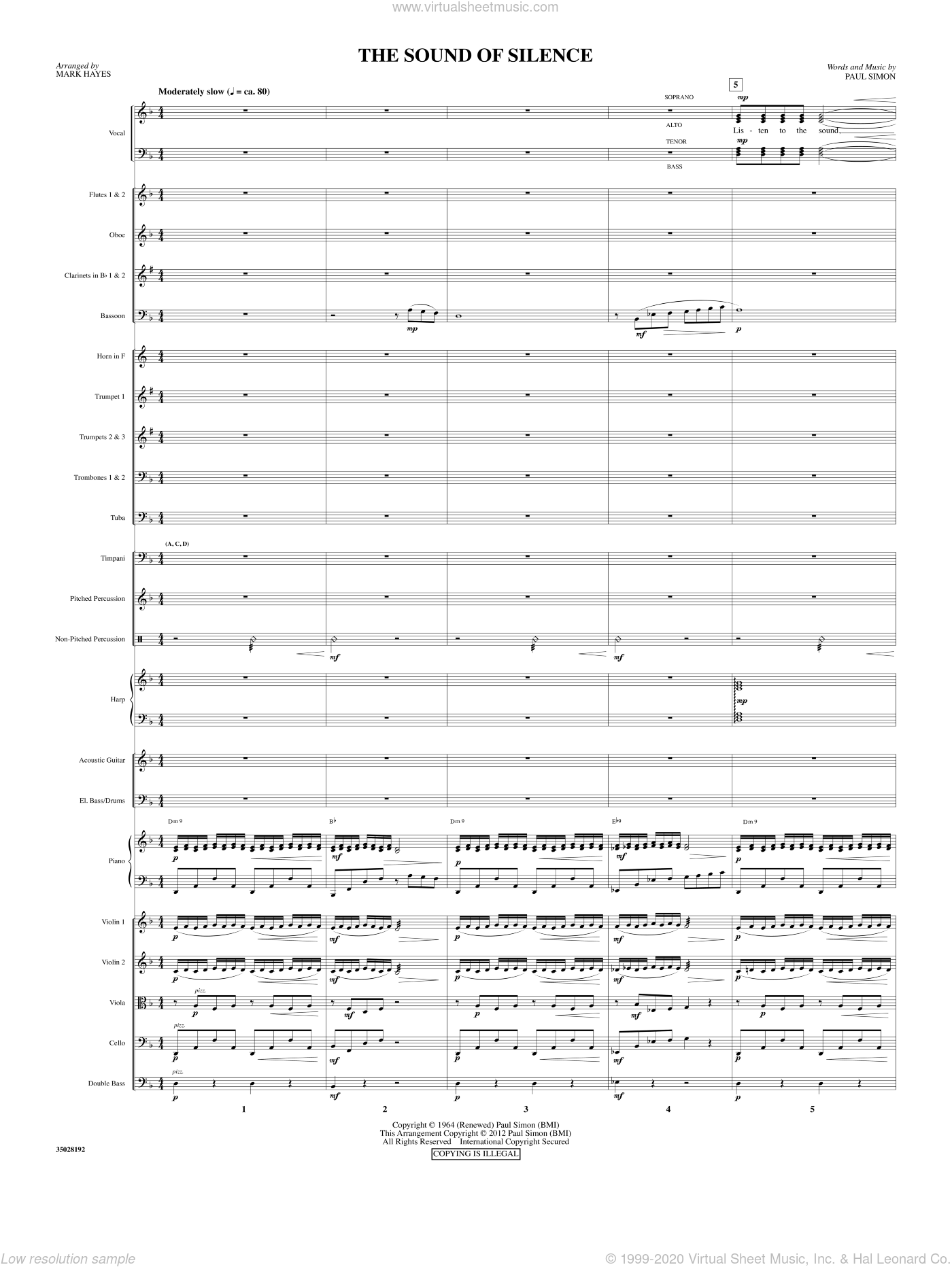 The Sound Of Silence sheet music for orchestra/band (full score) by Paul Simon