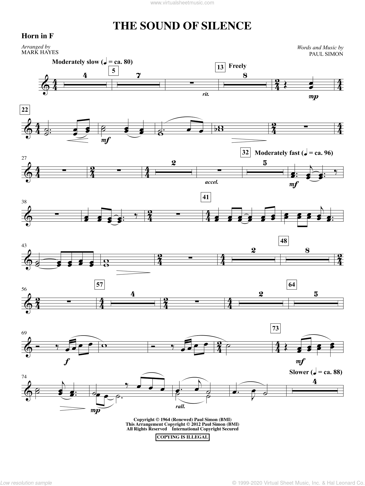 The Sound Of Silence sheet music for orchestra/band (f horn) by Paul Simon