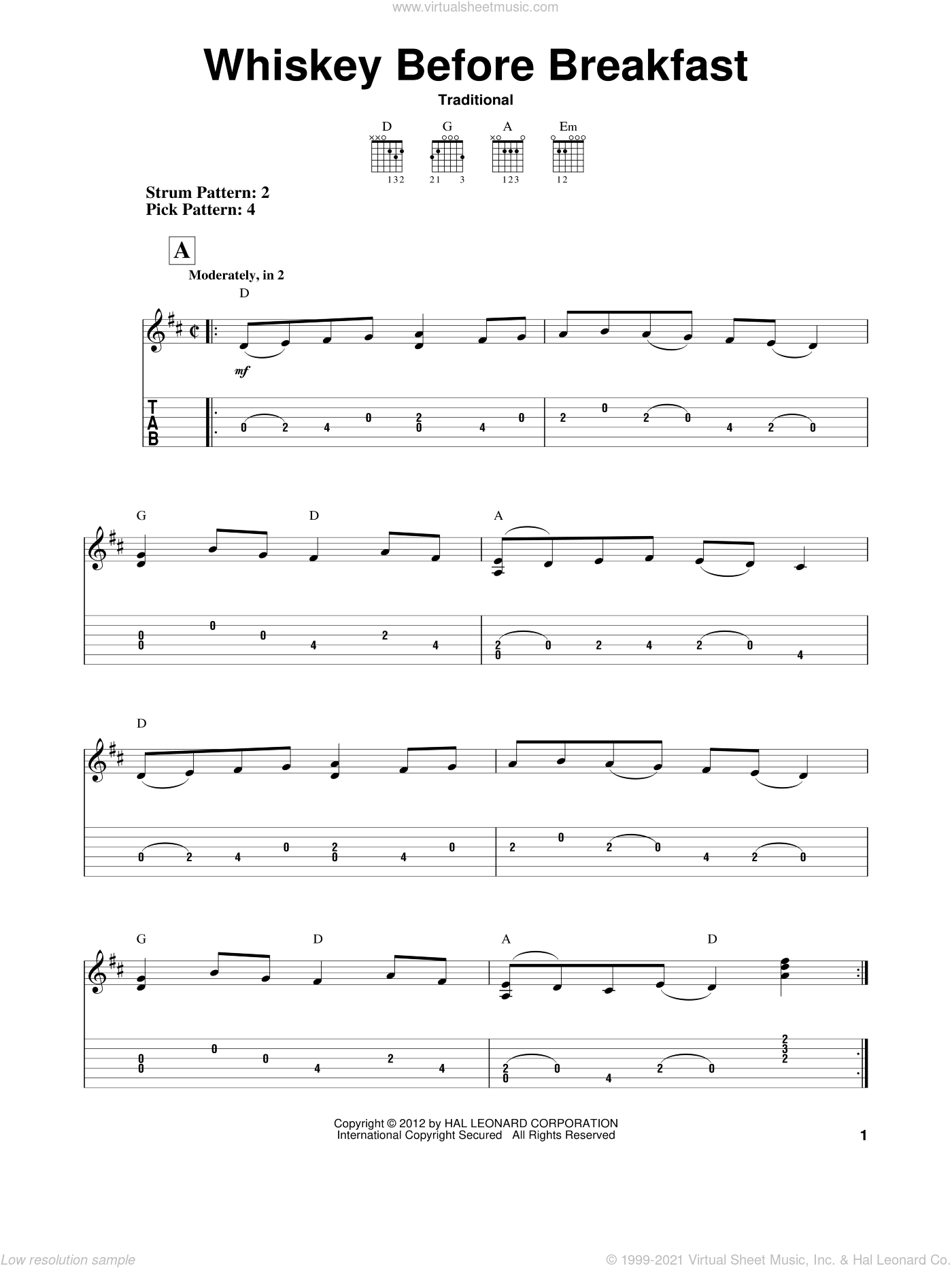 Whiskey Before Breakfast sheet music for guitar solo (easy tablature). Score Image Preview.