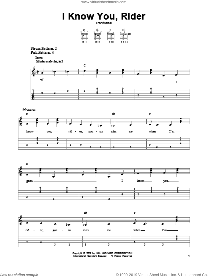 I Know You, Rider sheet music for guitar solo (easy tablature), easy guitar (easy tablature)