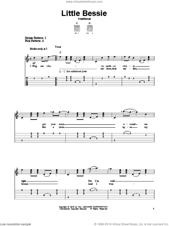 Little Bessie sheet music for guitar solo (easy tablature). Score Image Preview.