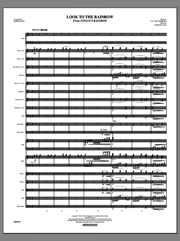 Look To The Rainbow sheet music for orchestra/band (full score) by Burton Lane