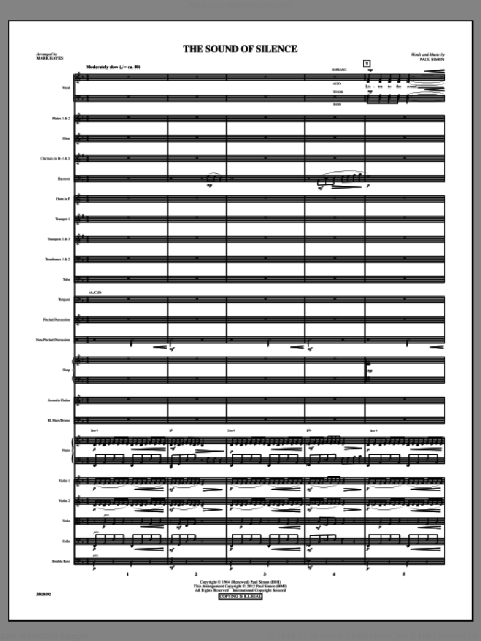 The Sound Of Silence (complete set of parts) sheet music for orchestra/band (Orchestra) by Paul Simon, Mark Hayes and Simon & Garfunkel, intermediate. Score Image Preview.