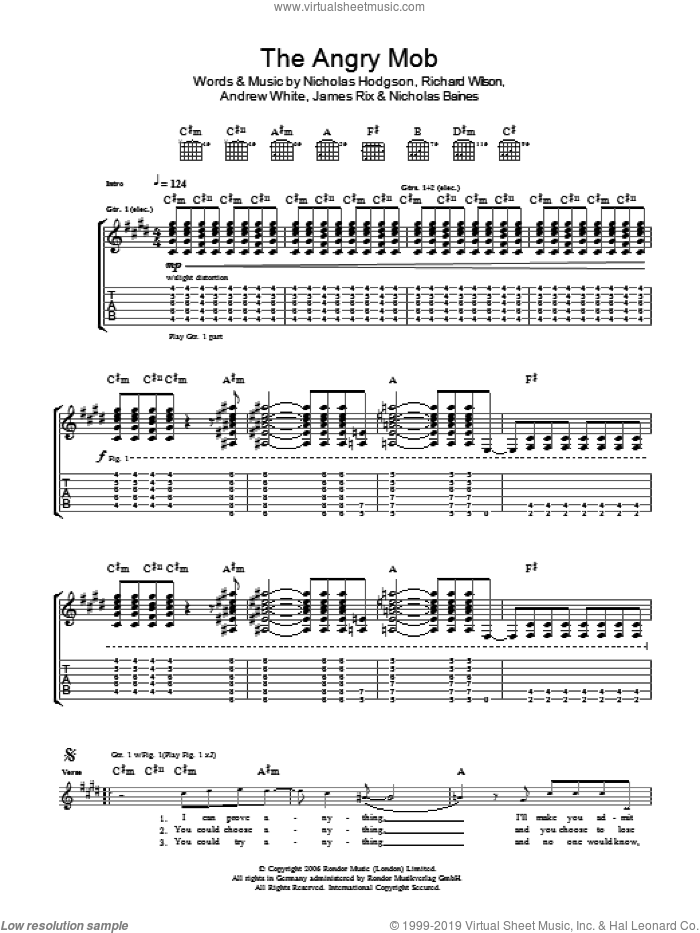 The Angry Mob sheet music for guitar (tablature) by Kaiser Chiefs, intermediate. Score Image Preview.