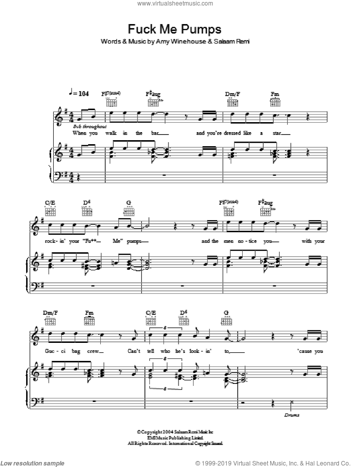 F**k Me Pumps sheet music for voice, piano or guitar by Amy Winehouse and Salaam Remi, intermediate skill level