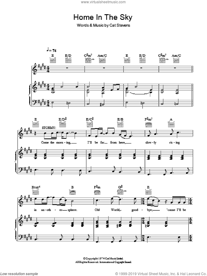 Home In The Sky sheet music for voice, piano or guitar by Cat Stevens and Moonshadow (Musical), intermediate. Score Image Preview.