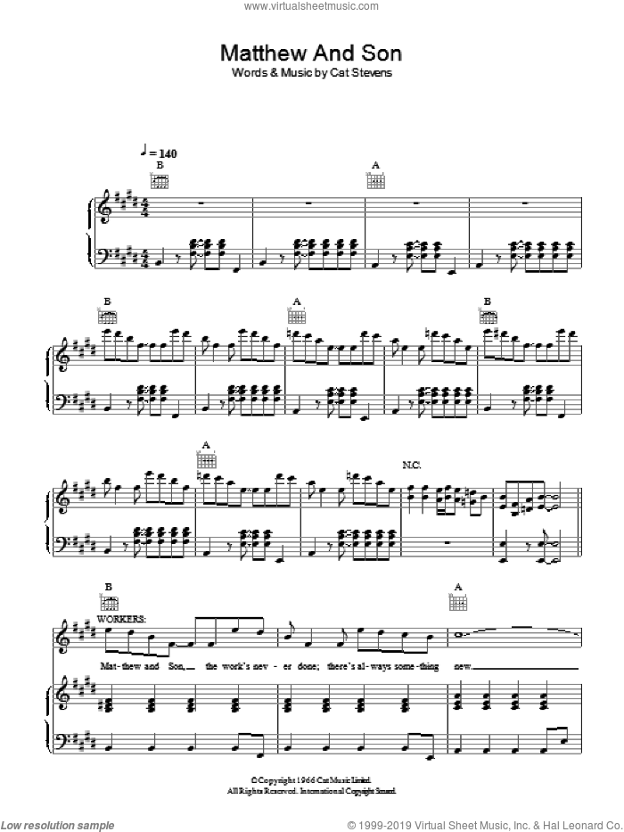 Matthew And Son sheet music for voice, piano or guitar by Cat Stevens and Moonshadow (Musical), intermediate skill level