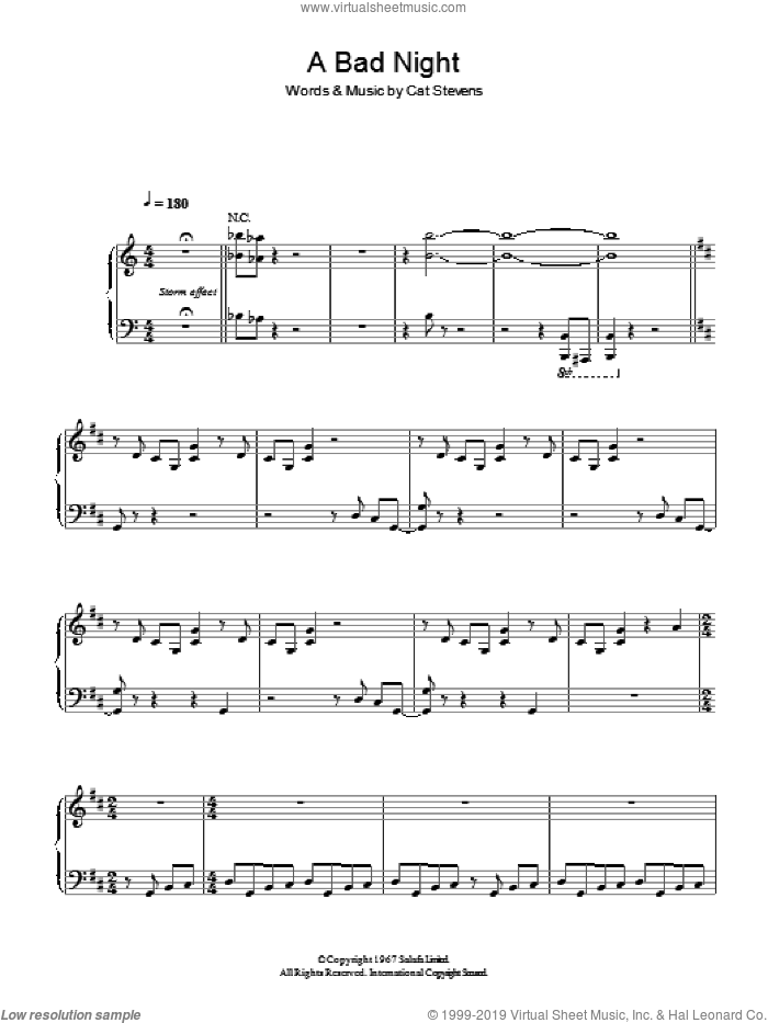 A Bad Night sheet music for voice, piano or guitar by Cat Stevens. Score Image Preview.