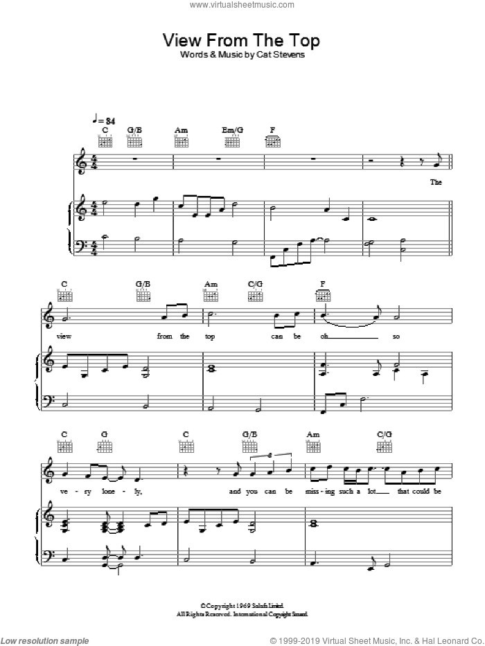 The View From The Top sheet music for voice, piano or guitar by Cat Stevens and Moonshadow (Musical), intermediate skill level