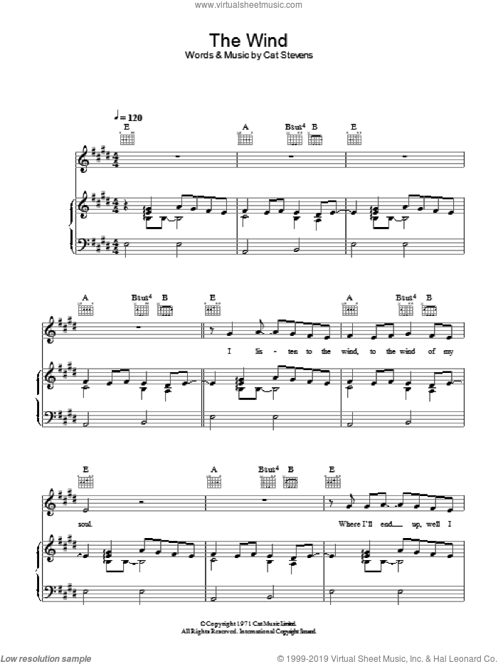 The Wind sheet music for voice, piano or guitar by Cat Stevens and Moonshadow (Musical), intermediate