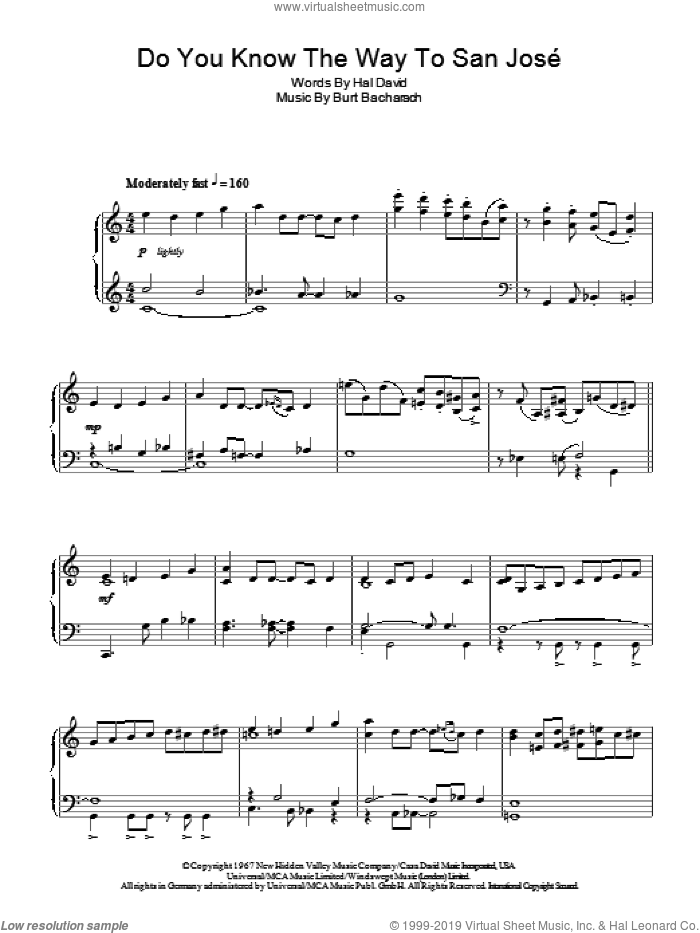 Do You Know The Way To San Jose sheet music for piano solo by Burt Bacharach and Hal David, intermediate skill level