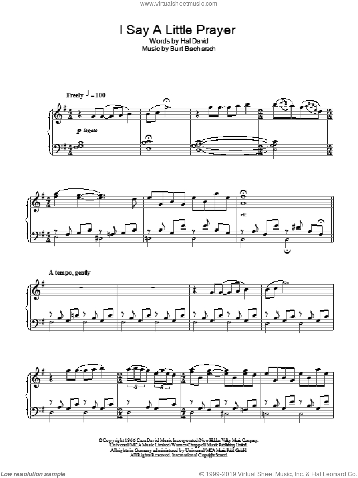 I Say A Little Prayer, (intermediate) sheet music for piano solo by Bacharach & David, Burt Bacharach and Hal David, intermediate skill level