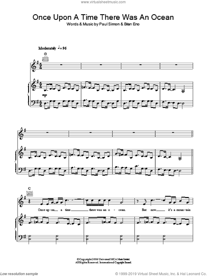Once Upon A Time There Was An Ocean sheet music for voice, piano or guitar by Paul Simon and Brian Eno. Score Image Preview.