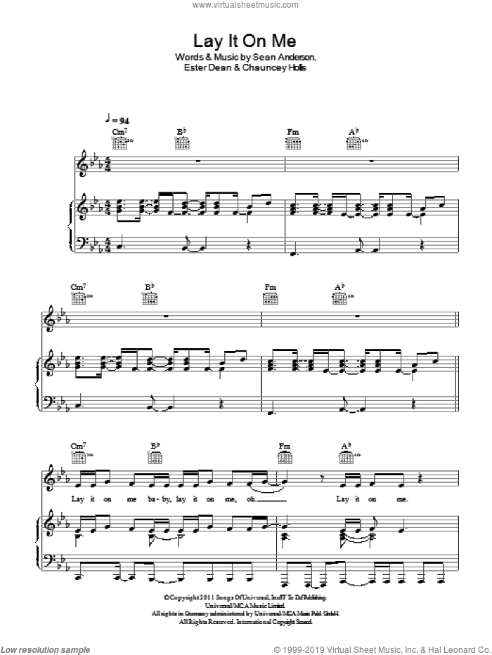 Lay It On Me sheet music for voice, piano or guitar by Kelly Rowland, Chauncey Hollis, Ester Dean and Sean Anderson, intermediate skill level