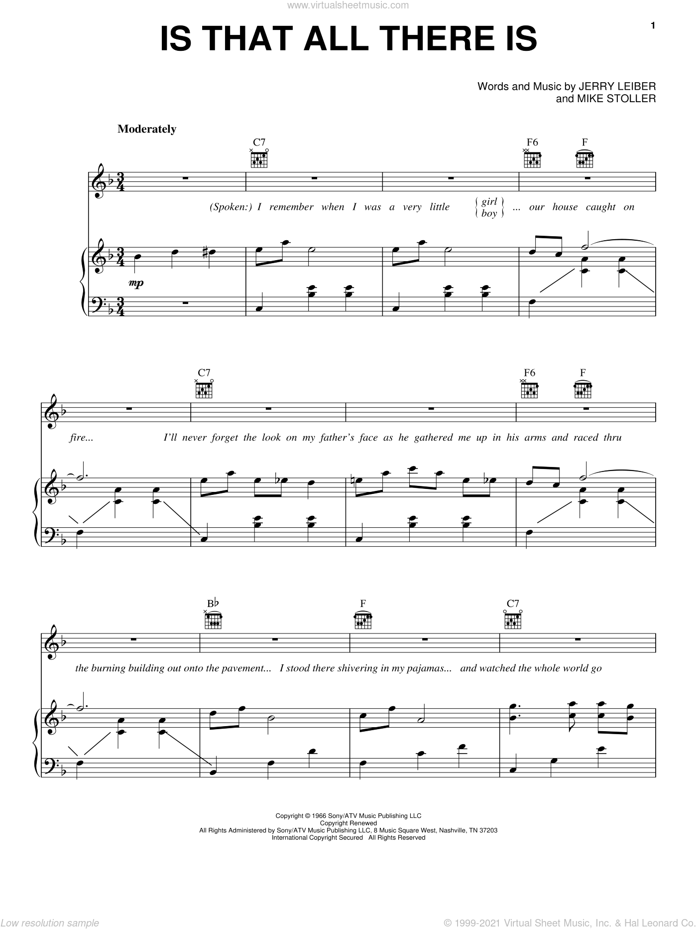 Is That All There Is sheet music for voice, piano or guitar by Peggy Lee, Leiber & Stoller, Jerry Leiber and Mike Stoller, intermediate skill level