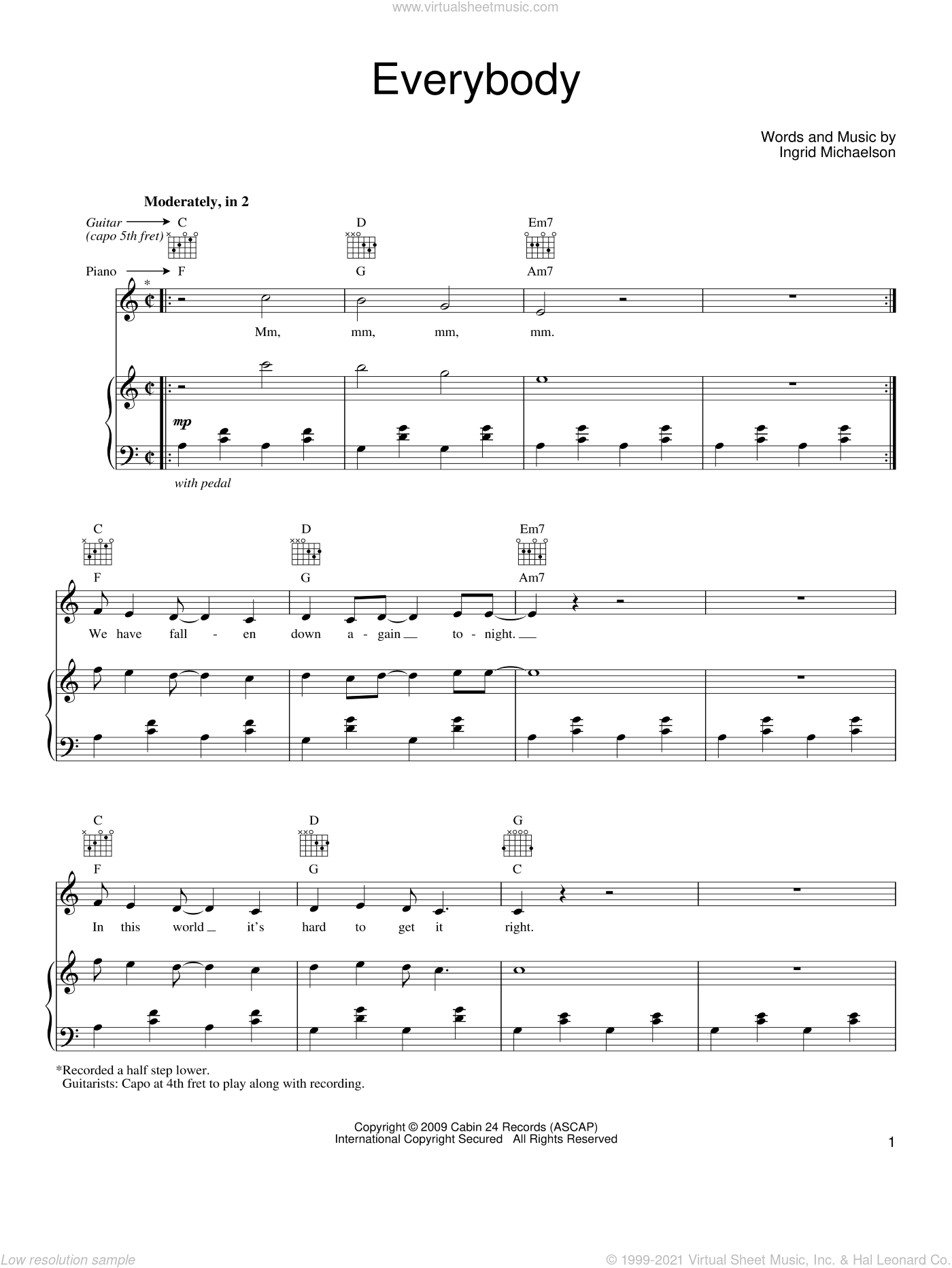 Everybody sheet music for voice, piano or guitar by Ingrid Michaelson, intermediate skill level