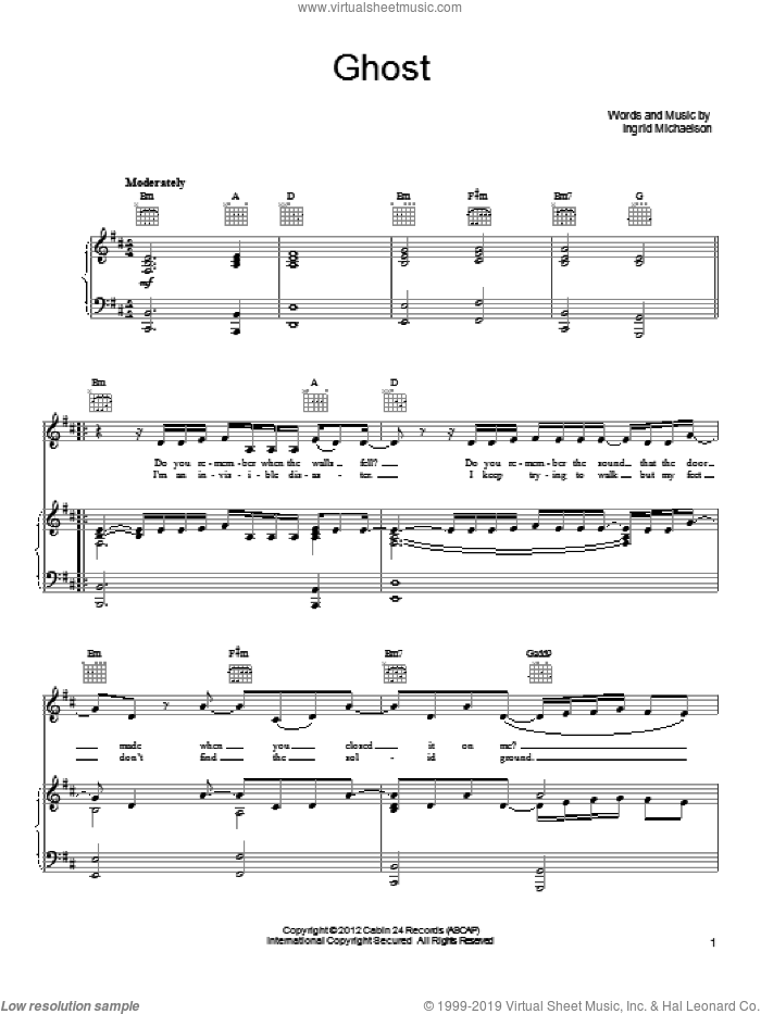 Ghost sheet music for voice, piano or guitar by Ingrid Michaelson. Score Image Preview.