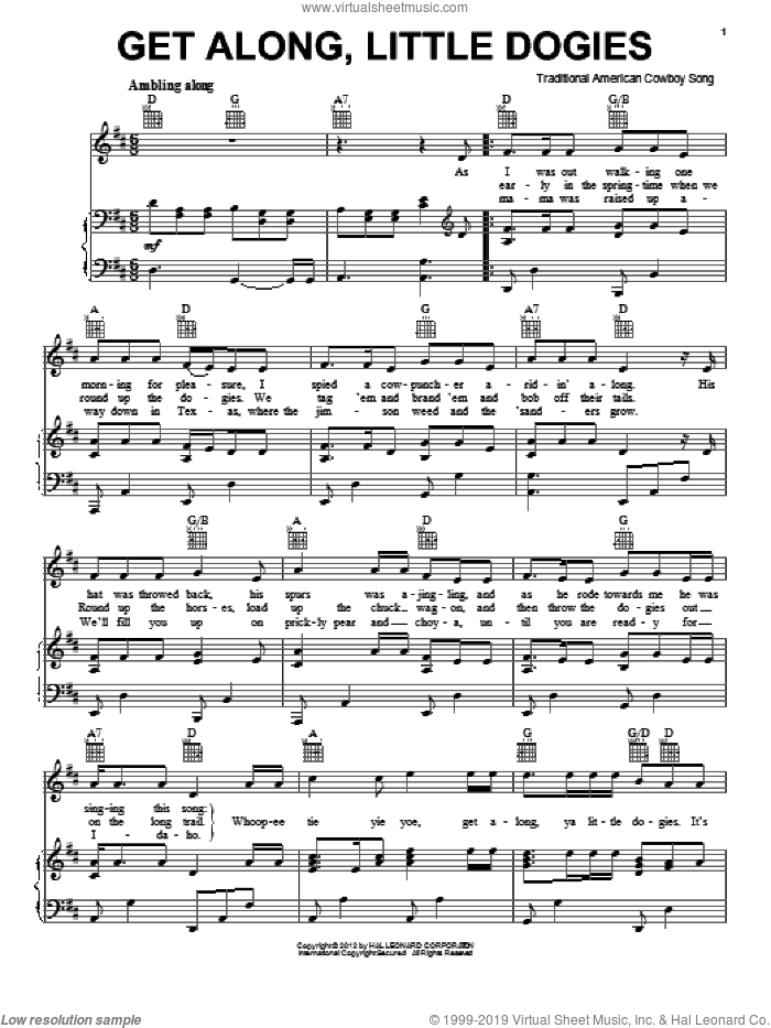 Get Along, Little Dogies sheet music for voice, piano or guitar, intermediate voice, piano or guitar. Score Image Preview.