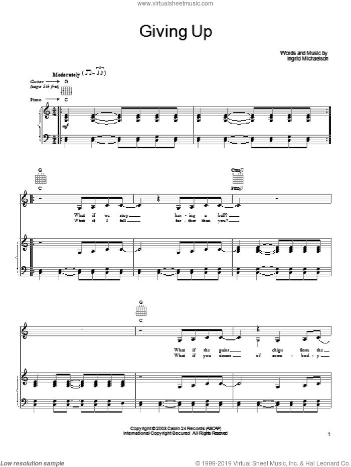 Giving Up sheet music for voice, piano or guitar by Ingrid Michaelson, intermediate skill level