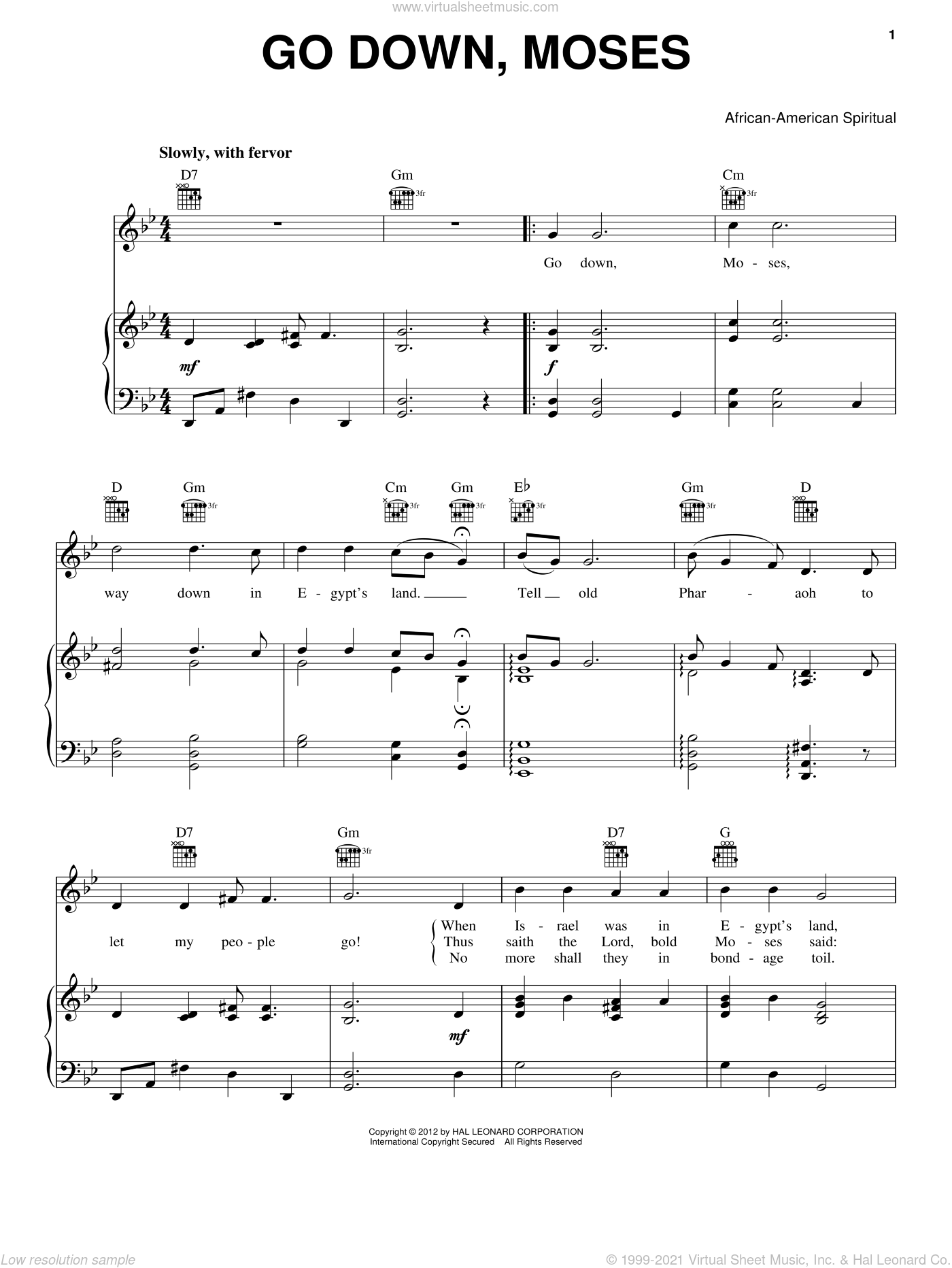 Go Down Moses sheet music for voice, piano or guitar. Score Image Preview.