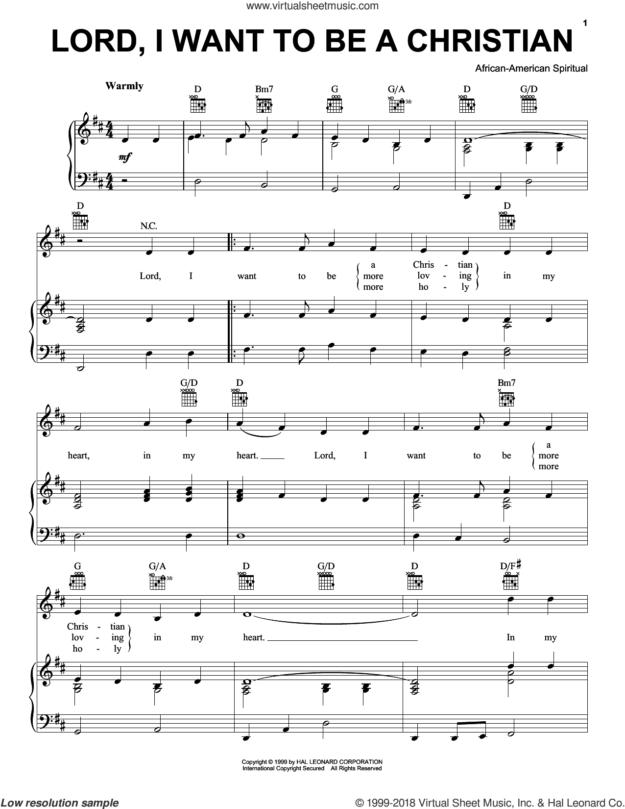 Lord, I Want To Be A Christian sheet music for voice, piano or guitar, intermediate voice, piano or guitar. Score Image Preview.