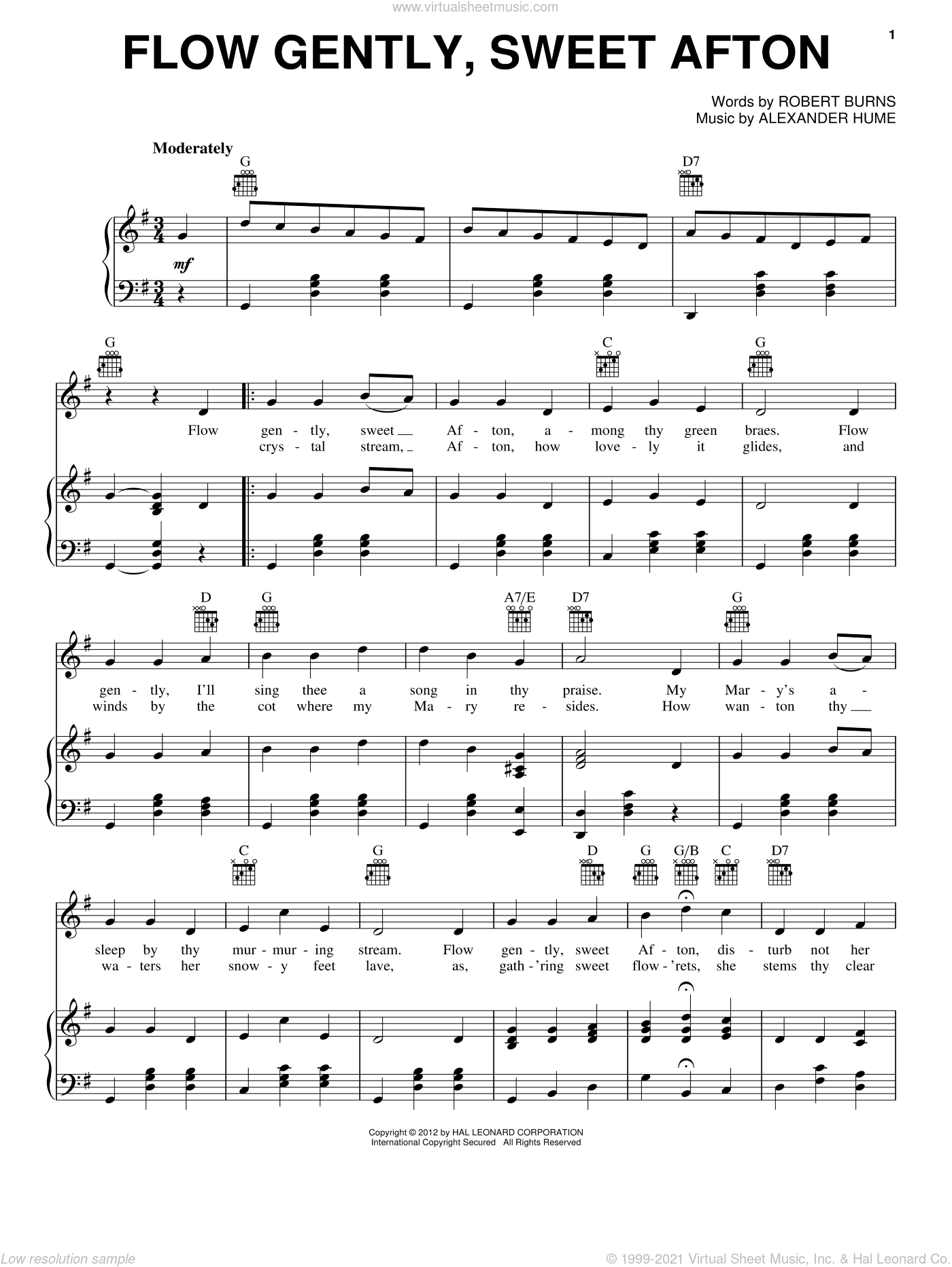 Flow Gently, Sweet Afton sheet music for voice, piano or guitar by Robert Burns and Alexander Hume, intermediate. Score Image Preview.