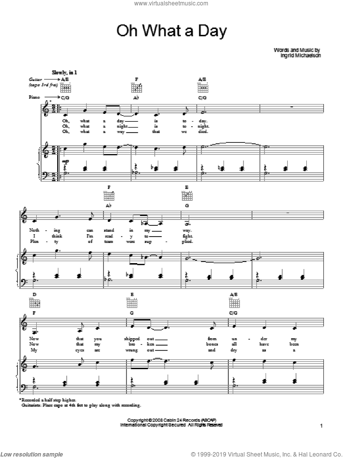 Oh What A Day sheet music for voice, piano or guitar by Ingrid Michaelson, intermediate skill level