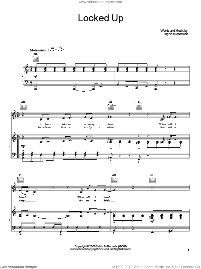 Locked Up sheet music for voice, piano or guitar by Ingrid Michaelson, intermediate skill level
