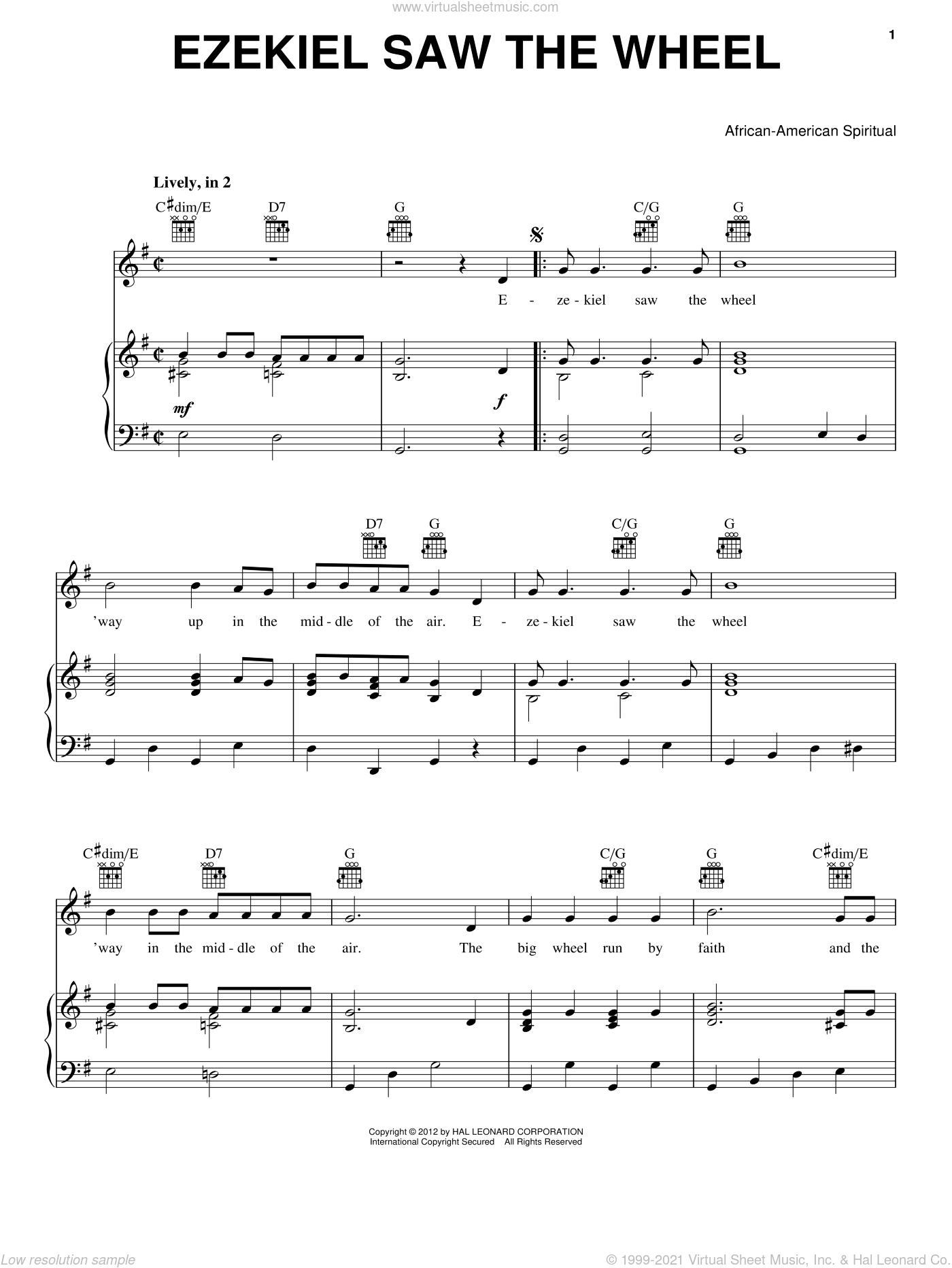 Ezekiel Saw The Wheel sheet music for voice, piano or guitar, intermediate skill level