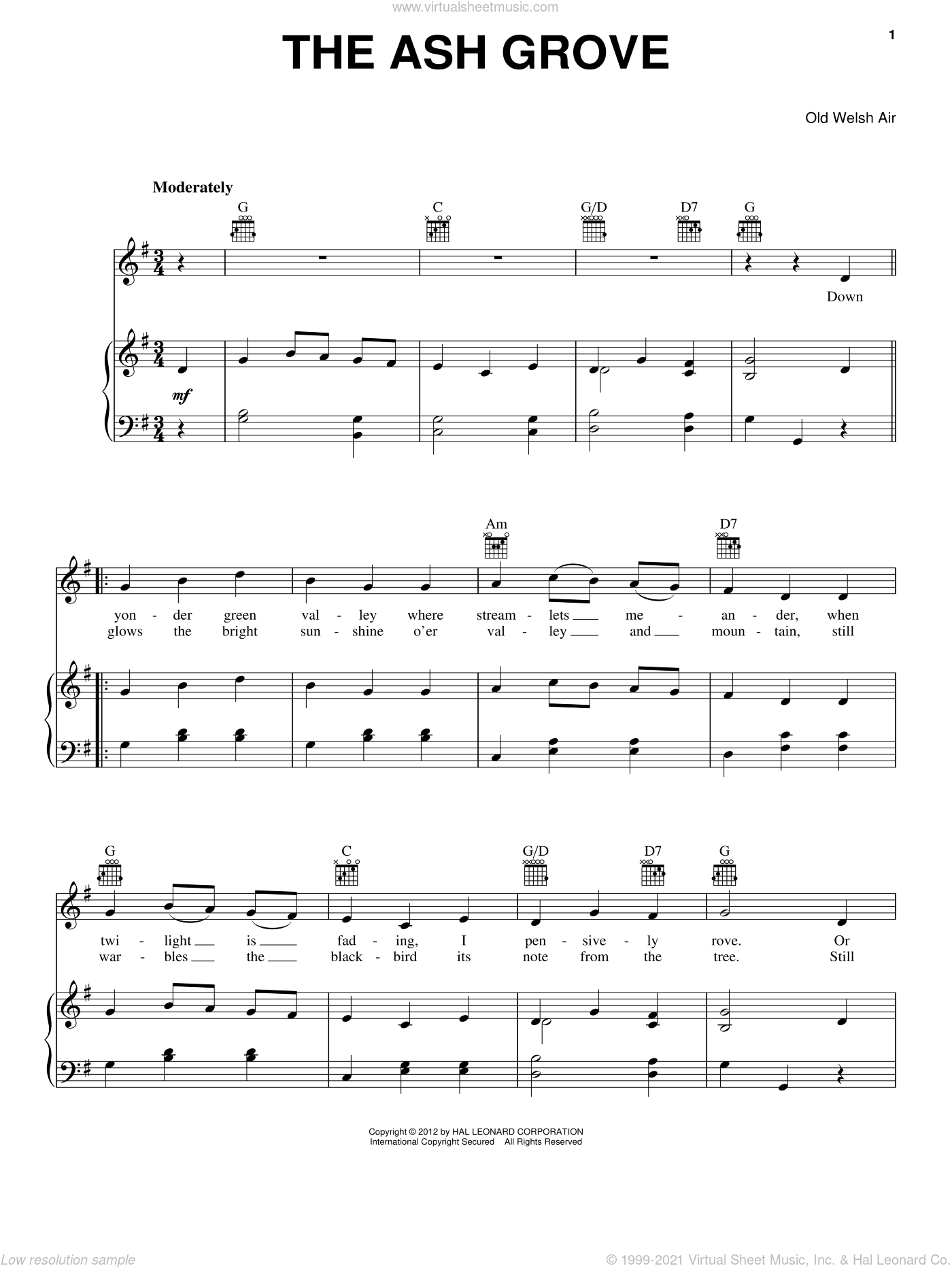 The Ash Grove sheet music for voice, piano or guitar, intermediate. Score Image Preview.