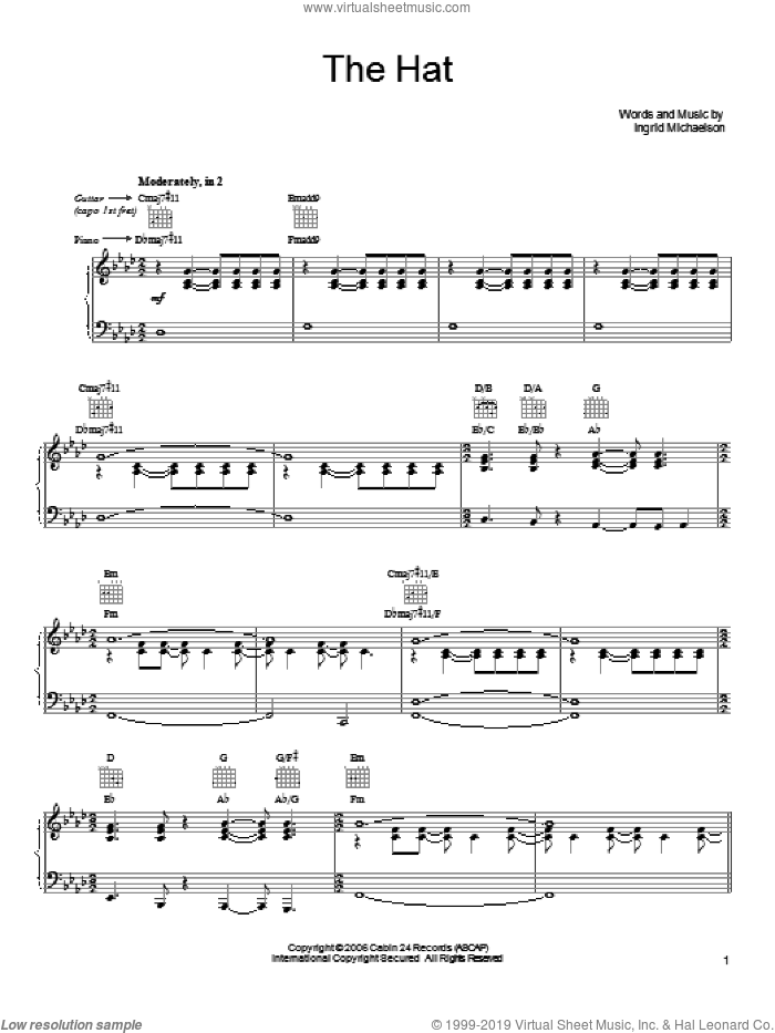 The Hat sheet music for voice, piano or guitar by Ingrid Michaelson. Score Image Preview.